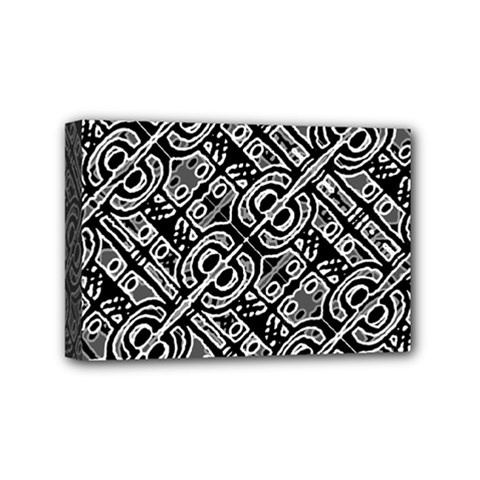Linear Black And White Ethnic Print Mini Canvas 6  X 4  (stretched) by dflcprintsclothing