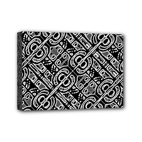 Linear Black And White Ethnic Print Mini Canvas 7  X 5  (stretched) by dflcprintsclothing