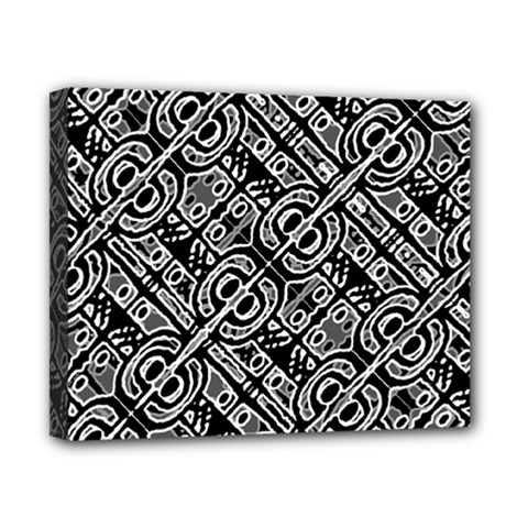 Linear Black And White Ethnic Print Canvas 10  X 8  (stretched) by dflcprintsclothing