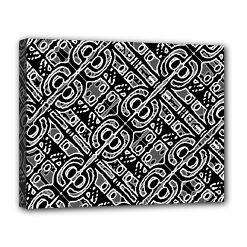 Linear Black And White Ethnic Print Canvas 14  X 11  (stretched) by dflcprintsclothing