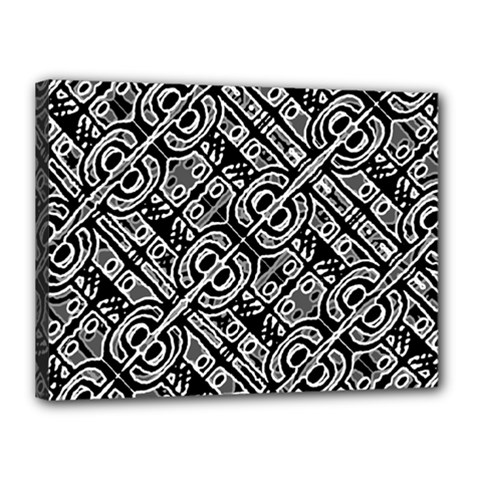 Linear Black And White Ethnic Print Canvas 16  X 12  (stretched) by dflcprintsclothing