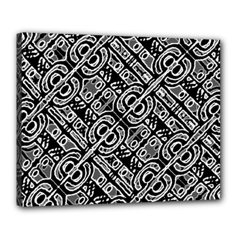 Linear Black And White Ethnic Print Canvas 20  X 16  (stretched) by dflcprintsclothing