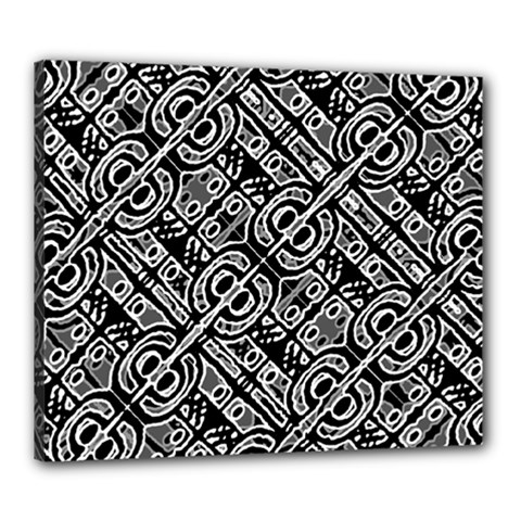 Linear Black And White Ethnic Print Canvas 24  X 20  (stretched) by dflcprintsclothing