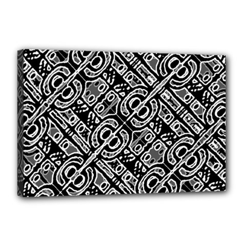 Linear Black And White Ethnic Print Canvas 18  X 12  (stretched) by dflcprintsclothing