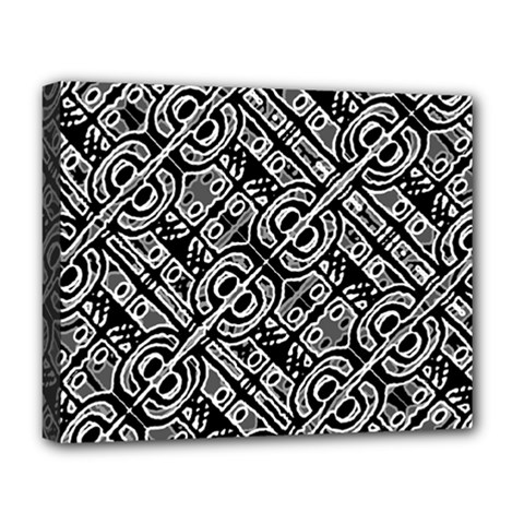 Linear Black And White Ethnic Print Deluxe Canvas 20  X 16  (stretched) by dflcprintsclothing
