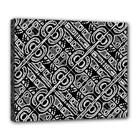 Linear Black And White Ethnic Print Deluxe Canvas 24  X 20  (stretched) by dflcprintsclothing