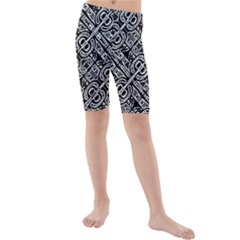 Linear Black And White Ethnic Print Kids  Mid Length Swim Shorts