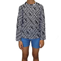 Linear Black And White Ethnic Print Kids  Long Sleeve Swimwear by dflcprintsclothing