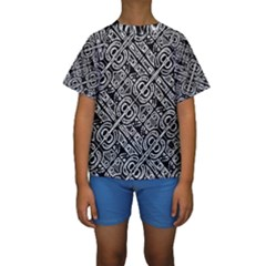 Linear Black And White Ethnic Print Kids  Short Sleeve Swimwear by dflcprintsclothing