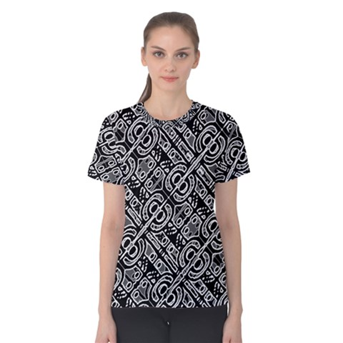 Linear Black And White Ethnic Print Women s Cotton Tee by dflcprintsclothing