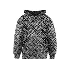 Linear Black And White Ethnic Print Kids  Pullover Hoodie by dflcprintsclothing
