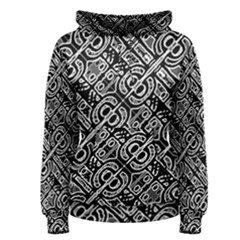 Linear Black And White Ethnic Print Women s Pullover Hoodie by dflcprintsclothing