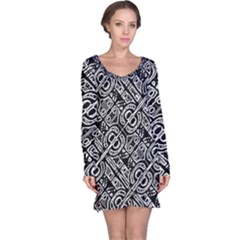 Linear Black And White Ethnic Print Long Sleeve Nightdress by dflcprintsclothing