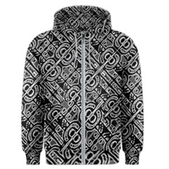 Linear Black And White Ethnic Print Men s Zipper Hoodie by dflcprintsclothing