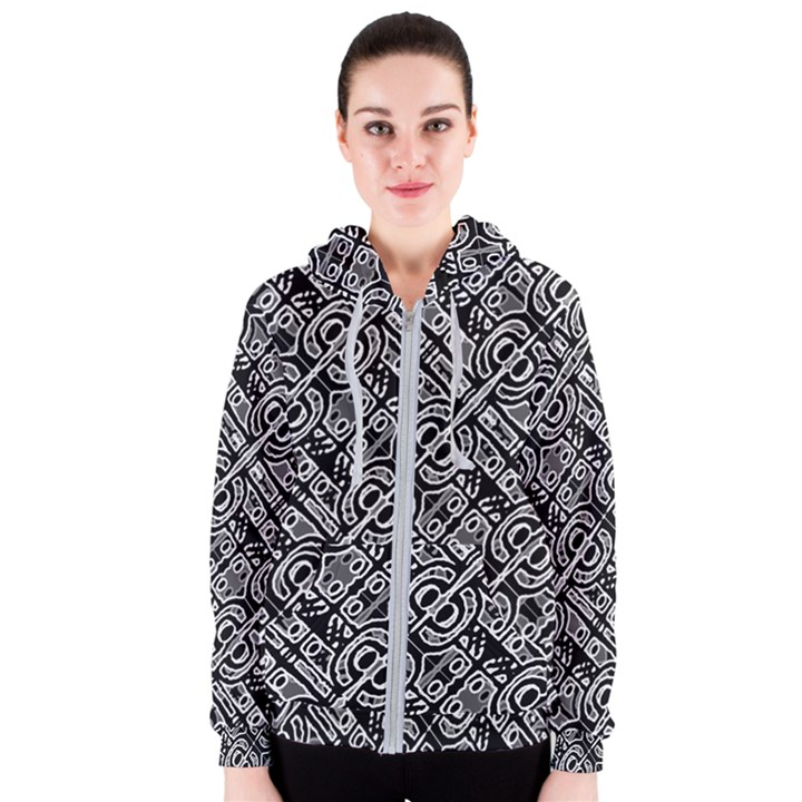 Linear Black And White Ethnic Print Women s Zipper Hoodie