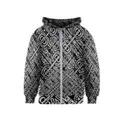 Linear Black And White Ethnic Print Kids  Zipper Hoodie by dflcprintsclothing