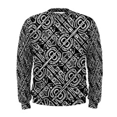 Linear Black And White Ethnic Print Men s Sweatshirt by dflcprintsclothing