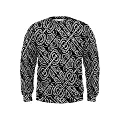 Linear Black And White Ethnic Print Kids  Sweatshirt by dflcprintsclothing