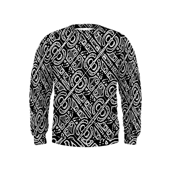 Linear Black And White Ethnic Print Kids  Sweatshirt