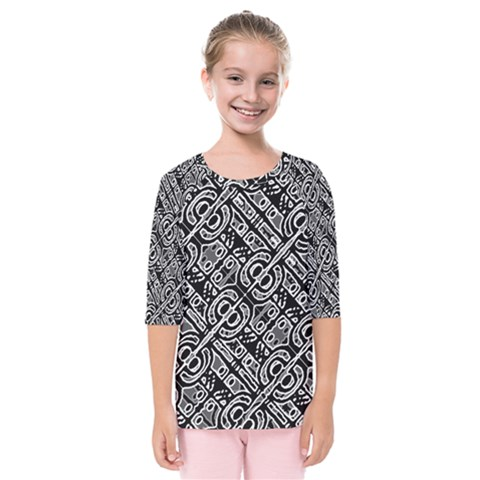 Linear Black And White Ethnic Print Kids  Quarter Sleeve Raglan Tee by dflcprintsclothing