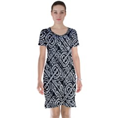 Linear Black And White Ethnic Print Short Sleeve Nightdress by dflcprintsclothing