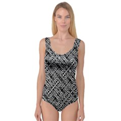 Linear Black And White Ethnic Print Princess Tank Leotard  by dflcprintsclothing
