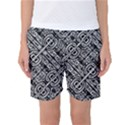 Linear Black And White Ethnic Print Women s Basketball Shorts View1