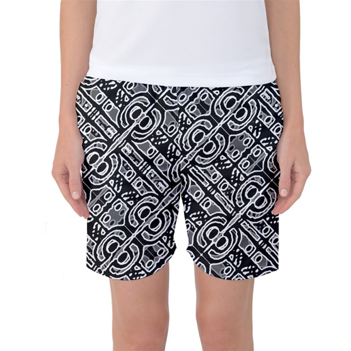 Linear Black And White Ethnic Print Women s Basketball Shorts