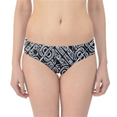 Linear Black And White Ethnic Print Hipster Bikini Bottoms by dflcprintsclothing