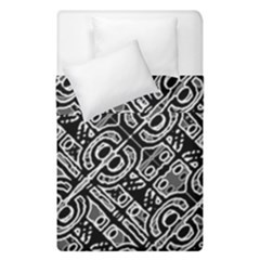 Linear Black And White Ethnic Print Duvet Cover Double Side (single Size)