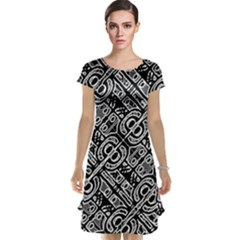 Linear Black And White Ethnic Print Cap Sleeve Nightdress by dflcprintsclothing