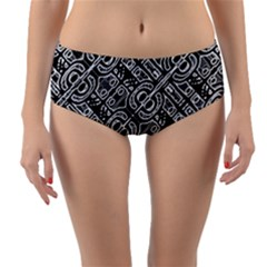 Linear Black And White Ethnic Print Reversible Mid-waist Bikini Bottoms by dflcprintsclothing