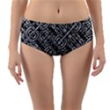 Linear Black And White Ethnic Print Reversible Mid-Waist Bikini Bottoms View1