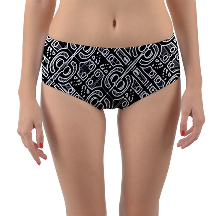 Linear Black And White Ethnic Print Reversible Mid-Waist Bikini Bottoms