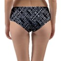 Linear Black And White Ethnic Print Reversible Mid-Waist Bikini Bottoms View2