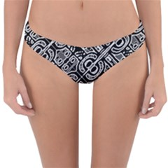 Linear Black And White Ethnic Print Reversible Hipster Bikini Bottoms by dflcprintsclothing