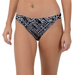 Linear Black And White Ethnic Print Band Bikini Bottom by dflcprintsclothing