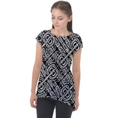 Linear Black And White Ethnic Print Cap Sleeve High Low Top