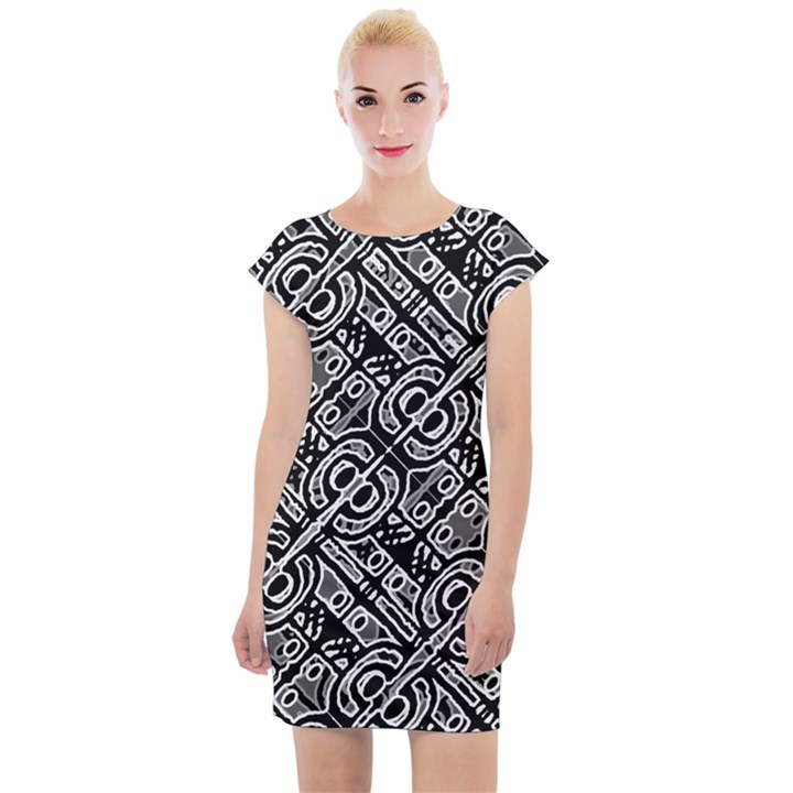 Linear Black And White Ethnic Print Cap Sleeve Bodycon Dress