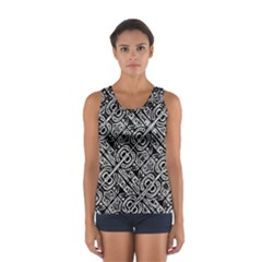 Linear Black And White Ethnic Print Sport Tank Top