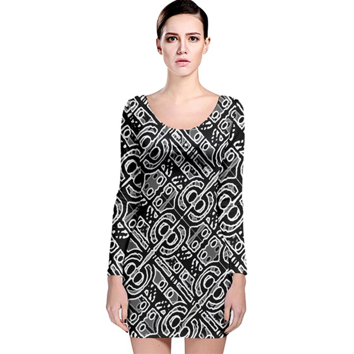 Linear Black And White Ethnic Print Long Sleeve Velvet Bodycon Dress