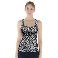 Linear Black And White Ethnic Print Racer Back Sports Top by dflcprintsclothing