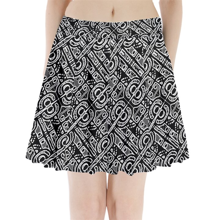 Linear Black And White Ethnic Print Pleated Mini Skirt