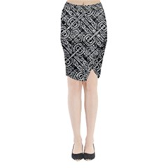 Linear Black And White Ethnic Print Midi Wrap Pencil Skirt by dflcprintsclothing
