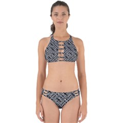 Linear Black And White Ethnic Print Perfectly Cut Out Bikini Set