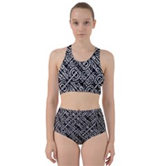 Linear Black And White Ethnic Print Racer Back Bikini Set by dflcprintsclothing