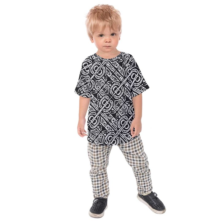 Linear Black And White Ethnic Print Kids  Raglan Tee