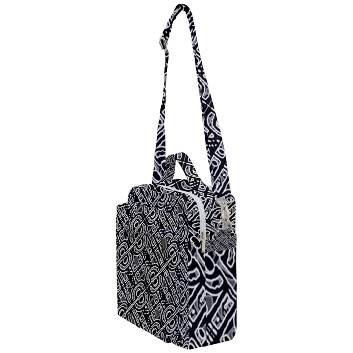 Linear Black And White Ethnic Print Crossbody Day Bag