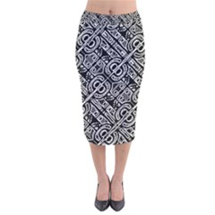 Linear Black And White Ethnic Print Velvet Midi Pencil Skirt