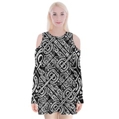 Linear Black And White Ethnic Print Velvet Long Sleeve Shoulder Cutout Dress by dflcprintsclothing